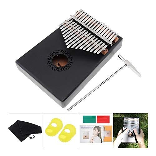 SADDPA 17 Key Kalimba Single Board Mahagoni Daumenklavier Mini Tasteninstrument mit komplettem Zubehör (Color : Black)
