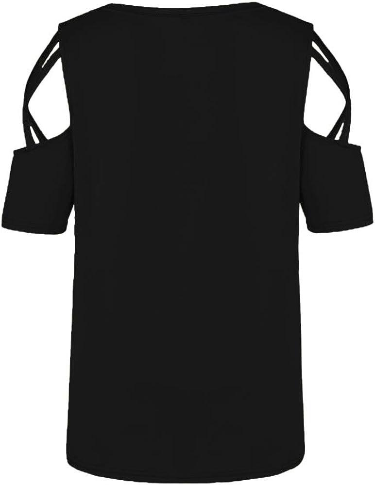 iLUGU Women Summer Short Sleeve Strappy Cold Shoulder T-Shirt Tops
