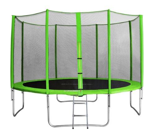 SixBros. SixJump 4,00 M Trampolín Cama elástica de jardín Verde - Escalera - Red de Seguridad - Lluvia Cobertura TG400/1743