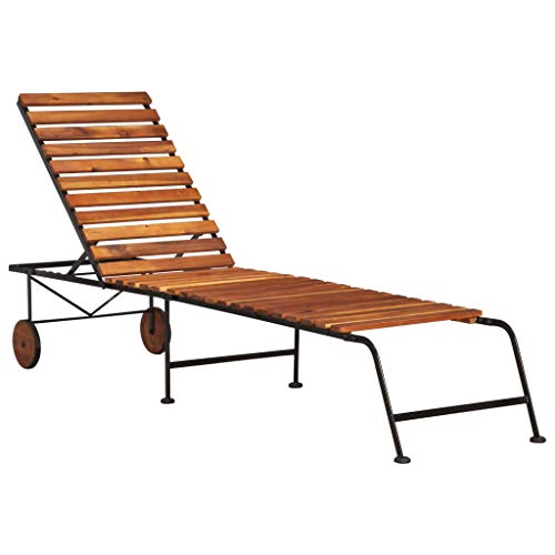 vidaXL Solid Acacia Wood Sun Lounger with Steel Legs Outdoor Recliner Chair