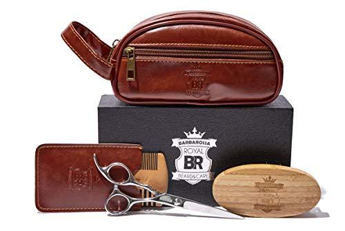 Beard Grooming Beard Care Travel Kit – Includes Beard Brush, Wooden Beard Comb, Barber Scissors – Gift Set For Men (medium)
