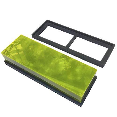 Slijpsteen voor het slijpen van de messen, Grain Jade Natural 10000, hardsteen met skid basis in Silicon voor het slijpen en polijsten - 180 * 60 * 30mm,Green