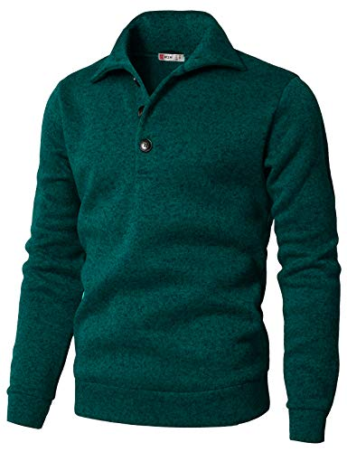 H2H Men's Slim Fit Turtleneck Basic Knit Sweater with Buttons Turquoise US M/Asia L (CMTTL091)