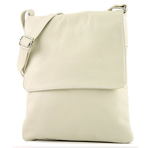 modamoda de -. ital Borsa a tracolla Messenger signore borsa in pelle T33, Colore:crema