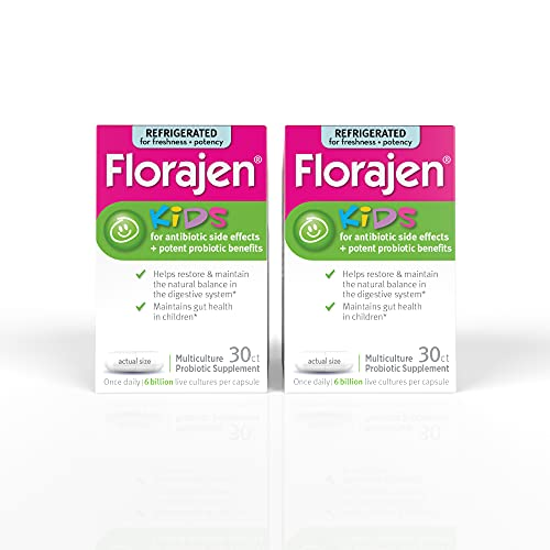 Florajen Kids Refrigerated Probiotics | Supports Gut and Immune Health | 6 Billion CFUs | for Antibiotic Side Effects | 60 Capsules, 30 Count (Pack of 2)