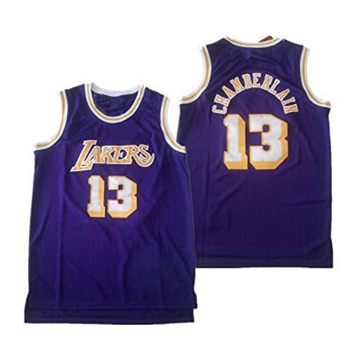 ZSPSHOP NBA Lakers Jersey Nº 33 Jabal, Nº 13 Chamberlain Retro Mesh Amarillo Púrpura Jersey Bordado (Color: Púrpura 13, Talla XXXL)