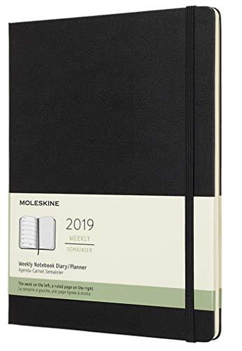 Moleskine Wochen Notizkalender, 12 Monate, 2019, Xlarge, Hard Cover, Schwarz (AGENDA 12 MOIS)
