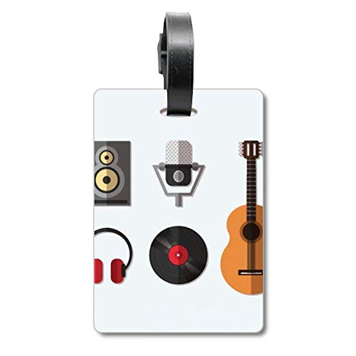 Gitaar Headset CD Microfoon Muziek Patroon Cruise koffer Tas Tag Tourister Identificatie Label