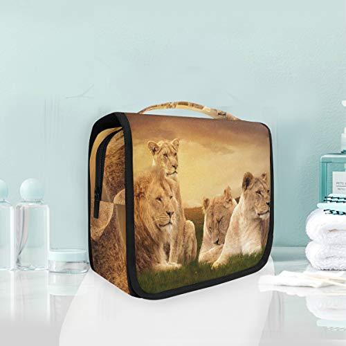 Sac cosmétique Voyage Pendaison Trousse De Toilette Animal Lion Famille Voyage Sac De Rangement Portable Maquillage Poche Sac Organisateur Cas pour Femmes