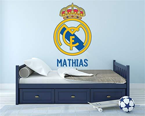 pegatina de pared 3d Real Madrid Cf Decor Stickers Sport Nombre personalizado Fútbol para guardería Habitación para niños para sala de estar para niño Dormitorio