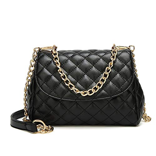 Fashion Women Bags Diamond Lattice Women Handbags PU Leather Clutches Chain Women Shoulder Bags Sac A Main,B Black,Small Size