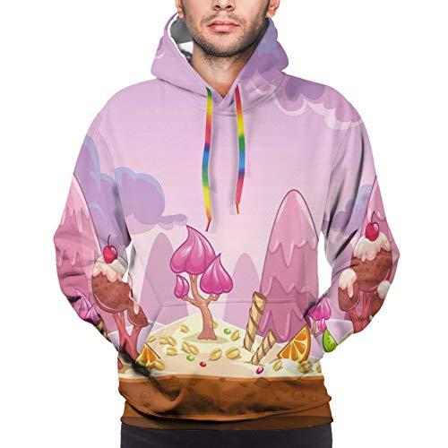 FULIYA Men's Hoodies Sweatshirts,Cartoon Sweet Candy Land Cupcakes Ice Cream Chocolate Oranges Mountains Artwork Print,Large