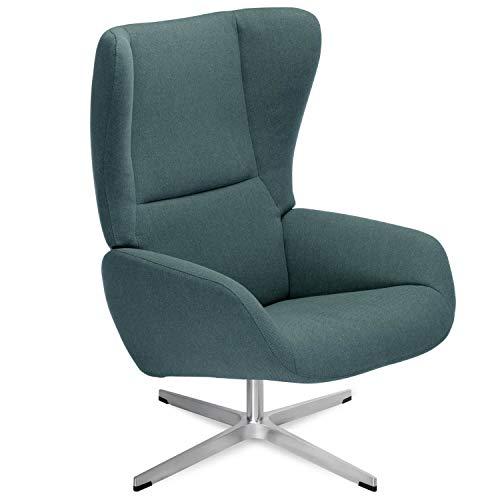 mokebo® Premium Sessel 'Der Chefsessel' mit Hocker, Relaxsessel, hochwertiger Ohrensessel & Fernsehsessel, Webstoff in Petrol -36, Sessel | Gestell in Chrom satiniert 33