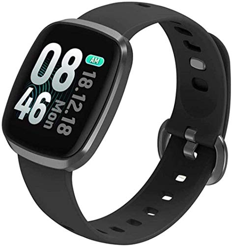 JSL Reloj inteligente Ip68 resistente al agua con monitor de presión arterial de ritmo cardíaco pantalla completa táctil reloj deportivo para mujeres hombres desgaste diario A-Gary