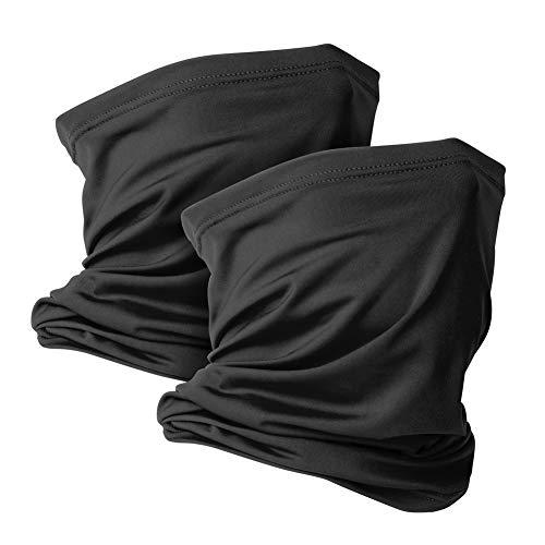 2 Pack Neck Gaiter Face Mask Scarf Reusable Bandanas Tube UV Protection Headwear Balaclava Outdoor Sport for Men and Women Black
