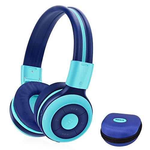 SIMOLIO Auriculares Bluetooth para niños con micrófono, Auriculares Plegable para niños con 75/85/94dB Volumen Limitado, Puerto compartido, EVA Caso, 15 Horas Reproducción, Audio Cable, niñas y niños