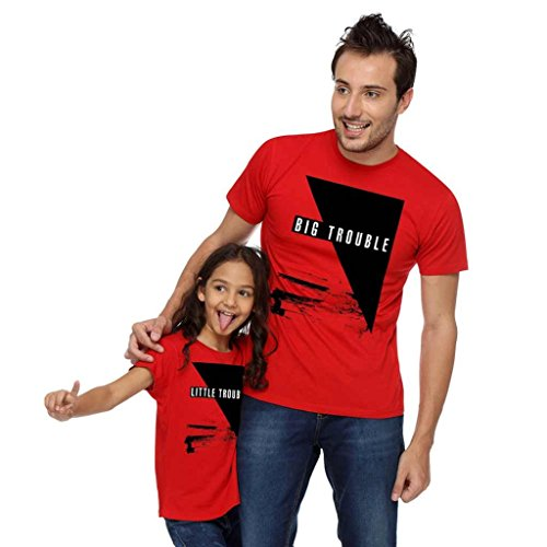 Bon Organik Men's & Girls' Regular Fit T-Shirt Pack of 2) (BON1715-SP-RD-MG32_Red_X-Large, 2-4 Years)