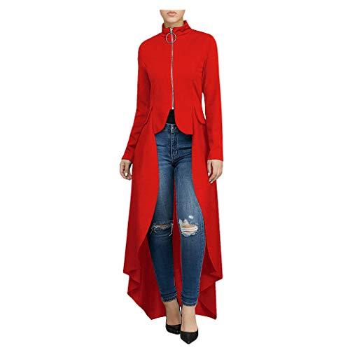 NHNKB Vokuhila - Vestito da donna Steampunk, lungo, da smoking con parte anteriore corta, per Halloween, Natale, carnevale, rosso, taglia M