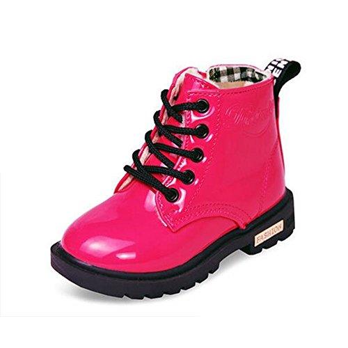 QZBAOSHU Schuhe Stiefel Stiefeletten Baby Mädchen Jungen Wasserdichte Schneeschuhe für 2-12 Jahre Alte 33 EU(Etikettengröße 34) Rose Rot: Tuch innen