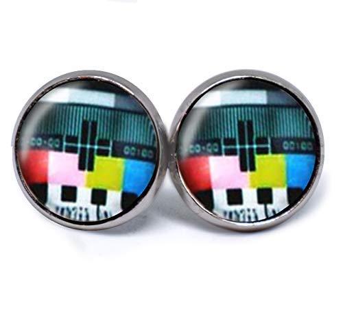 JUANLOWE 90s Testbild Fernsehen Ohrringe aus Edelstahl, silberfarben, Bildschirm Neunziger jahre Ohrstecker