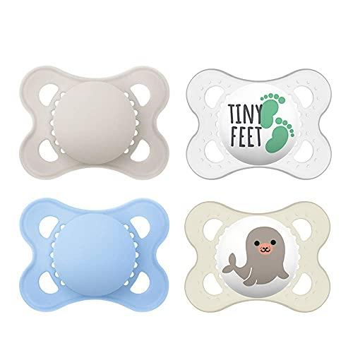 MAM, ciuccio in lattice di gomma naturale, adatto per bambini di età 0-6 mesi, set da 4 pezzi, con 2 scatole sterili per il trasporto