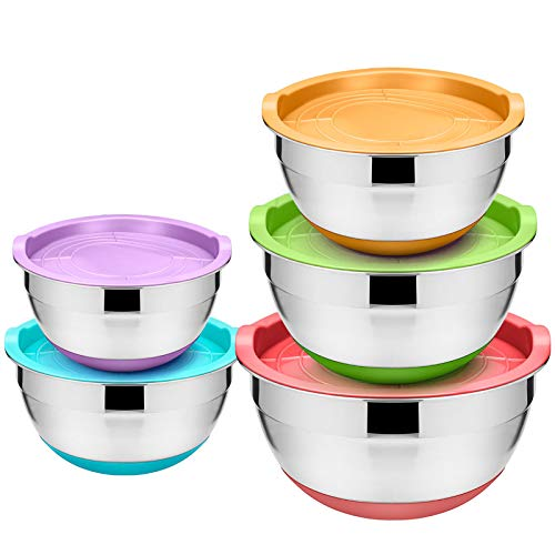 WEZVIX Mixing Bowls Set of 5 with Lids, Silicone Bottom and Scale Marks Easy to Clean Stainless Steel Nesting Metal Bowls 4-3.5-2.5-2-1.5 QT for Saving Space