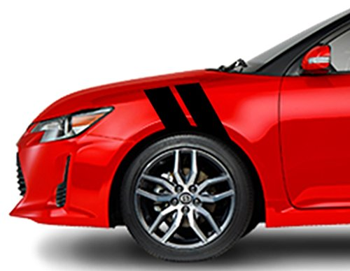 Clausen's World 4 Inch Fender Hash Bar Racing Stripes Vinyl Decal, Fits TC and FR S, Both Sides, Black