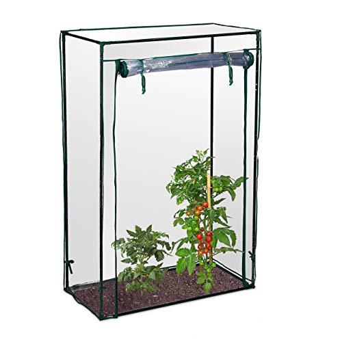 Relaxdays Tomatengewächshaus, Garten, Balkon, Foliengewächshaus Tomaten, HBT 150x100x50cm, Stahl, PVC-Folie, transparent