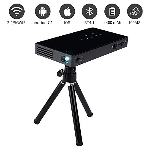 Tragbare Mini-Projektor, 1080P HD DLP WiFi Smart-Pocket-Videoprojektor Touch Panel mit WiFi, HDMI, USB, Micro SD, 3,5 mm Audio und Fernbedienung for Unterstützung for iPhone, Android, PC, Game