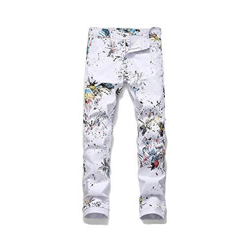 LNLW Mannen Teen Tights Joker Fashion Panty's, Stretch, Enamel Print, witte voetjes (Size : 32)