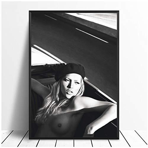 sjkkad Kate Moss Englisch Vogue Sexy Super Modell Poster Bar Drucke Wandkunst Bild für Wohnzimmer Wohnkultur Leinwand-60x80 cm Kein Rahmen