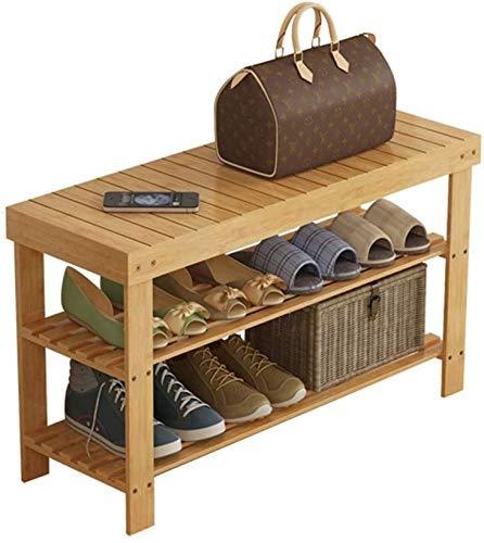 Schoenenbank van bamboe met 3 niveaus | Organizer voor schoenenhouder | Schoenenkast van massief hout, ideaal voor woonkamer en hal in de badkamer, in de gang – 6 maten (afmetingen: 50 x 28 x 45 cm) 90x28x45cm