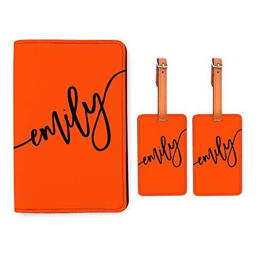 Personalized RFID Passport Holder 2 Luggage Tag Matching Set - Orange