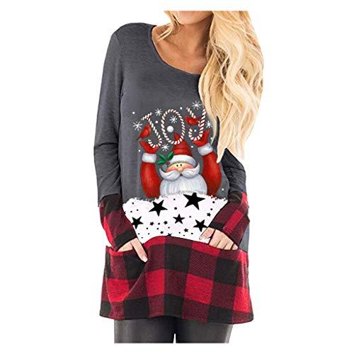 LEKODE Camisetas para mujer con estampado de cuadros navideños de manga larga, Gris, X-Large