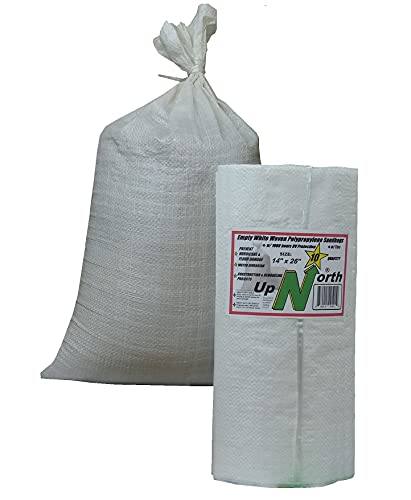 """UpNorth Sandbags - Empty Woven Polypropylene Sand Bags w/Ties, w/UV Protection; size: 14"""" x 26"""", color: White, Qty of 10"""