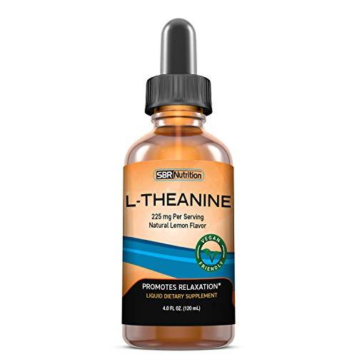 Complemento alimenticio líquido de L-teanina, 225 mg por porción, 120 ml, 60 porciones, apto para veganos