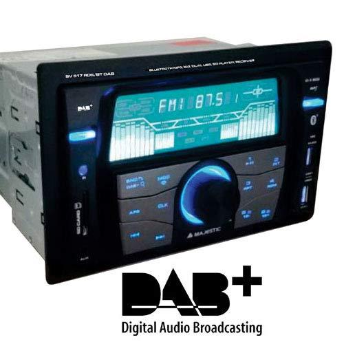 Majestic SV 517 RDS BT DAB stereo-autoradio DAB+ Bluetooth, dual DIN, USB/SD/AUX-IN, USB-lader, 180W (45x4ch) zwart