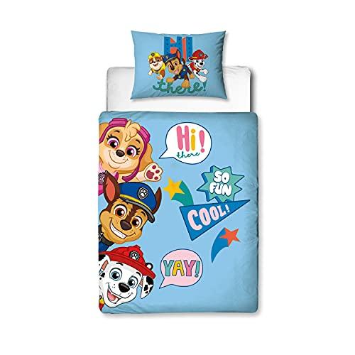 Paw Patrol Funda de edredón junior con licencia oficial   I'm Cool Design con funda de almohada a juego – polialgodón – azul – Junior