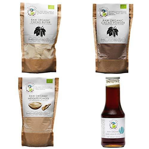 Drobtinka Choco Pack mit Kakaopulver, Kakaobutter, Mesquite-Pulver und Agavensirup, biologisch und roh