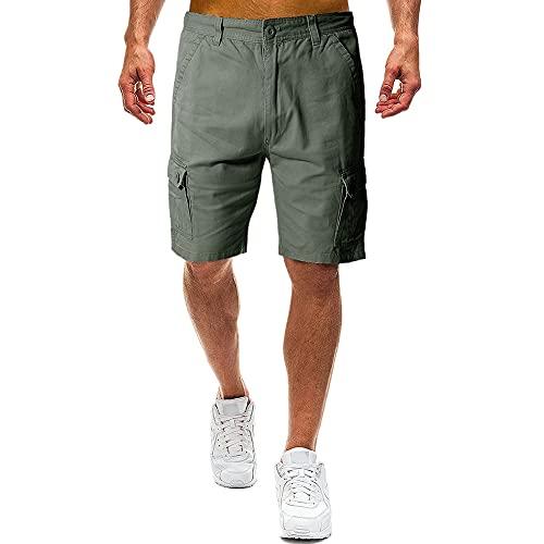 N\P Verano multi bolsillo color sólido pantalones cortos de los hombres al aire libre monos