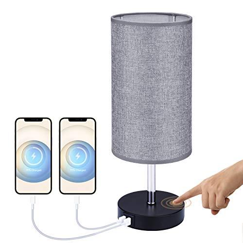 Glighone Lámpara de Mesita Lámpara de Noche Regulable con 2 USB Lámpara de Mesa Escritorio Táctil Totalmente Pantalla de Tela Gris, E27 Bombilla Incluida