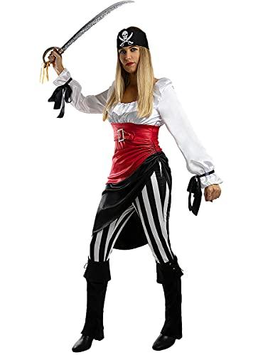 Funidelia | Disfraz de Pirata aventurera para Mujer Talla S Corsario, Bucanero - Color: Blanco - Divertidos Disfraces y complementos para Carnaval y Halloween