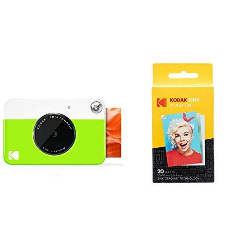KODAK Printomatic Fotocamera istantanea stampe su carta fotografica Zink Zero Ink 2x3 con retro autoadesivo, Verde neon & ZINK Photo Paper 20pezzi 50 x 76mm pellicola per istantanee, 20 pack