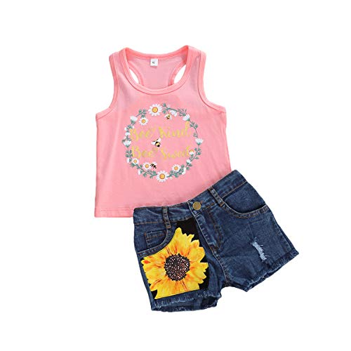 Toddler Baby Girl Clothes Sunflower Romper/T Shirt Sleeveless Vest Tops Denim Shorts Jeans Pants Kids Summer Outfit 2Pc Set (Bee Kind Pink, 4-5 Years)