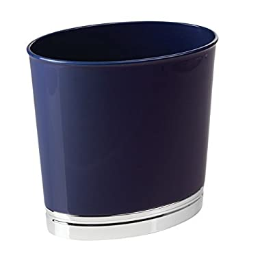 mDesign Oval Slim Decorative Plastic Small Trash Can Wastebasket, Garbage Container Bin for Bathrooms, Kitchens, Home Offices, Dorm Rooms - Navy Blue, Chrome Finish Base