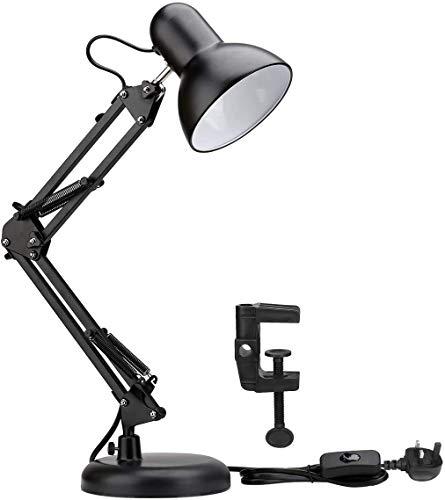 LE-ledbureaulamp, E27-schroeflamphouder, Swing Arm Architect Lamp, flexibele klem op tafellamp, klassiek nachtkastje voor terug naar school, lezen, studeren, kantoor, hobby en meer