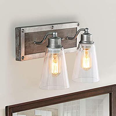 LOG BARN 2-Light Wood Wall Sconces Aged Silver Linear Wall Lamps Lights Indoor