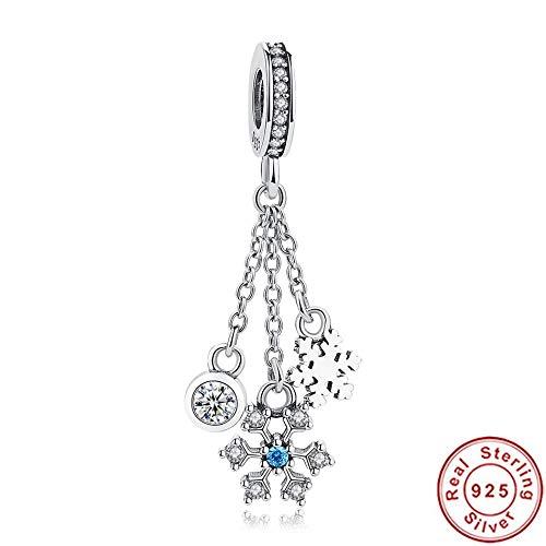 Jiao 925 Sterling Silber Perlen Charm Sparkling Crystal Schneeflocke Anhänger Perlen Passend Original Charms Armband Armreif DIY Schmuck