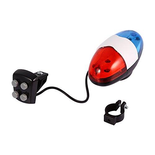 Rehomy super Laute Fahrradklingel, Sicherheit 6 LED Fahrrad Licht mit 4 Sounds Trompete elektrische Fahrrad Sirene Horn (ohne Batterien)