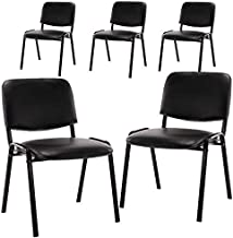 CIMOTA Stackable Chairs, Waiting Conference Room Office Reception Chair Armless Guest Stacking Chair for Breakroom Banquet Lobby Hall Training Room (Leather-Cushion,Black,5PCS)